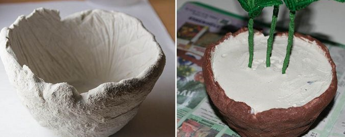 Как сделать цветочный горшок из гипса